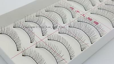 10 Pairs Natural Long Black Fake False Handmade Eyelashes Eye Lashes Makeup 216