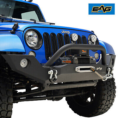 2007-2018 Jeep Wrangler JK Black Front Bumper W/Fog Light Hole