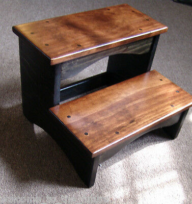 "10"" tall 11x16 handcrafted heavy duty wood step stool, bedside bed"