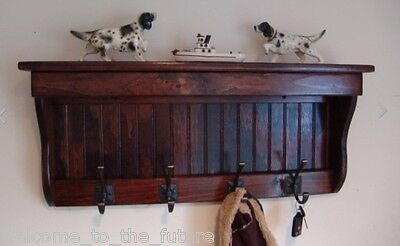 "30"" Handcrafted Wooden Coat Rack Wall Display Shelf, Key, 4 Hooks, Red Mahogany"