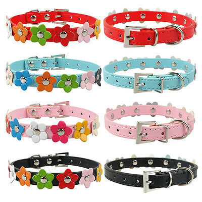 10pcs Flower Studded PU Leather Small Dog Collar for Poodle Yorkie Wholesale lot