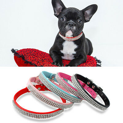 10pcs Wholesale Sparking Rhinestone Dog Collars PU Leather Bling Diamond Buckle