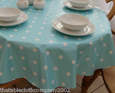 140 X 200cm Oval Wipe Clean PVC Tablecloth   Baby Blue Polka Dot