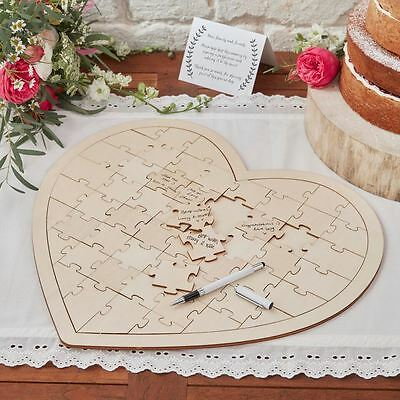 Ginger Ray Wooden Heart Shaped Wedding Jigsaw Puzzle Guestbook Guest Book Boho