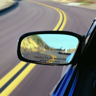 2pcs Car Black OBJECTS IN MIRROR ARE LOSING Rearview Mirror Vinyl Decal Sticker