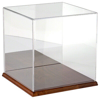 Plymor Brand Clear Acrylic Display Case with Hardwood Base (Mirror Back)