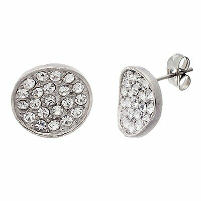 Stainless Steel Crystal Button 14mm Earring