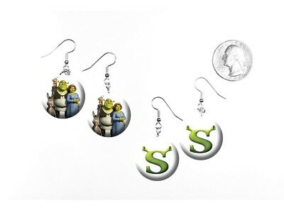 Shrek Ogre Swamp Mike Myers Animated Logo Kids 2 Pairs of Charm Earrings