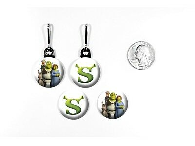 Shrek Ogre Swamp Mike Myers Animated Logo Kids Zipper Pulls w/ Buttons