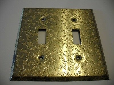 Vintage 1970's Gold Colored Steel Double Switch Wall COVER Plate HAMMERED Look