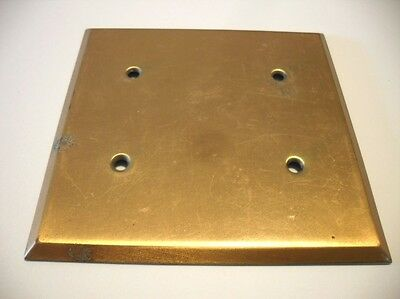 Vintage 1980's BRONZE Double Outlet BLANK Wall COVER Plate Used Heavy Weight