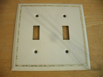 Vintage White VInyl Coated Steel Double Switch Wall COVER Plate Leather Look