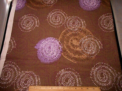 Cotton Fabric BTY By Yard Metallic Gold Purple White Swirls on Brown Andover #C