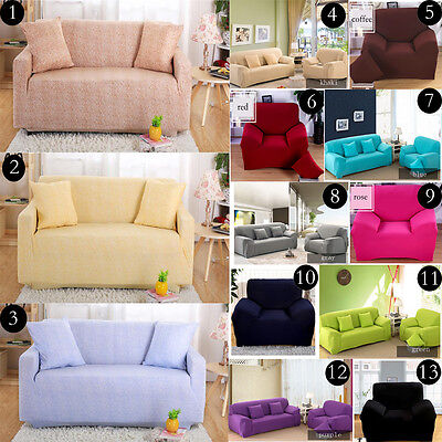 1Seater 2Seater 3Seater 4Seater Plain Color Stretch Fixable Sofa Couch Covers