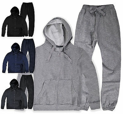 Boys Plain Hooded Tracksuit New Kids Jogging Bottoms & Hoodie Ages 7-14 Yrs