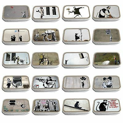 Banksy Art Slim Hinged 1oz Tin Tobacco Storage Choose Your Design