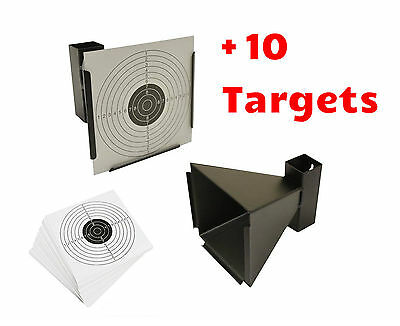 14cm Card Funnel Target Holder Pellet Trap + 10 Targets For Air Rifle/Airsoft