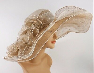 6Church Kentucky Derby Wedding Sinamay Wide Brim Dress Hat 2974 White & Taupe