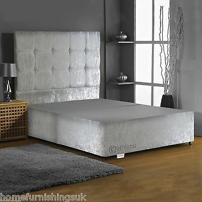 """Crushed Velvet Divan Base With Under Bed Storage+ 30"""" Headboard 