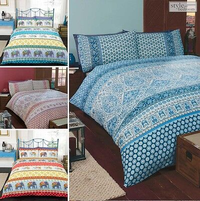 Vintage Moroccan or Indian Elephant Print with Floral Paisley Design Duvet Cover