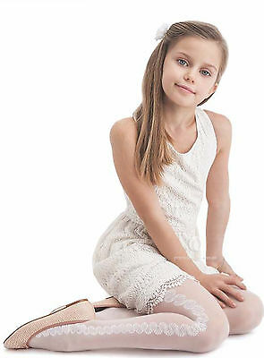 "Girls White Patterned Tights 20Denier Bridesmaid Holy Communion ""FABIANA""Knittex"