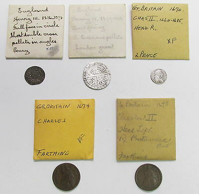 Estate Lot (5) 1216-1675 England Great Britain Penny Groat Pence Farthing Coins