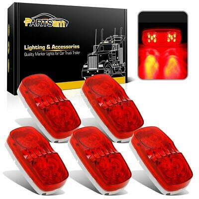 (5) 2 x 4 Red Double Bullseye LED Clearance Marker Light Surface Mount 10LED
