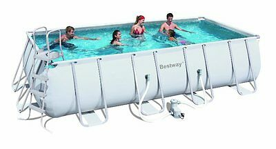 Bestway 18Ft Power Steel™ Rectangular Frame Pool Set Swimming Ladder Pump