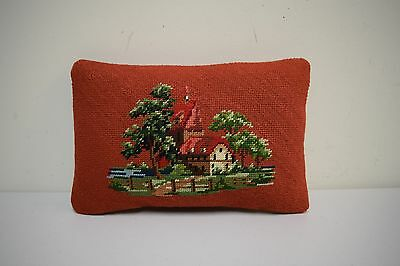 "Vintage 60s/70s Needlepoint Pillow Village Town Woods Scene 13"" x 9"""