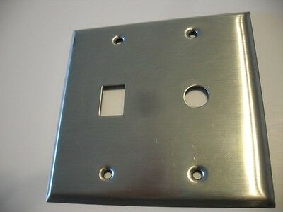 Satin Chrome Steel Double Switch Wall Cover Plate 1 Round & 1 Rectangular Style