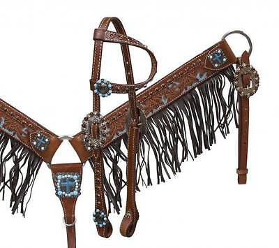 Showman Medium leather fringe headstall and breast collar with turquoise stones!