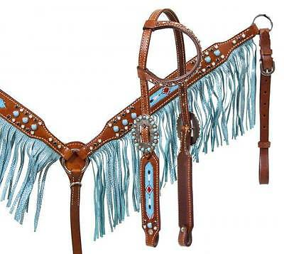Showman leather HS & B/C SET with beaded inlay and turquoise sting ray fringe!