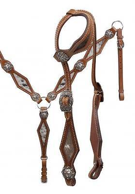 NEW Showman Single Ear Headstall and Breast Collar Set with Hair on Cowhide!