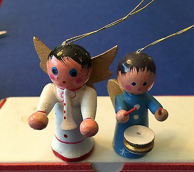 Vtg Wooden Christmas Ornaments Lot of 2 Angels Drums Horn