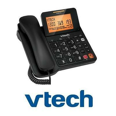 Vtech T1200 Corded Phone Black Speaker Phone Big Button Caller Id Lcd Display