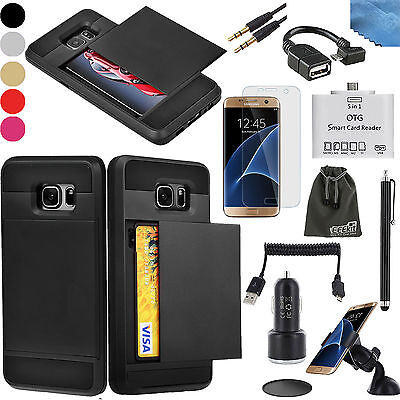 EEEKit for Galaxy S7 Edge,Card Slot Pocket Case Cover+OTG Card Reader+Accessory