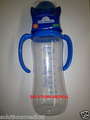 Feeding Bottle With Handles 250Ml Slow Flow Silicone Teat Bpa Free Sister Browne