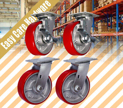 "4 X 5"" Caster Castor POLYURETHANE PU Wheel Heavy 300KG 2 Swivel 2 Brake"