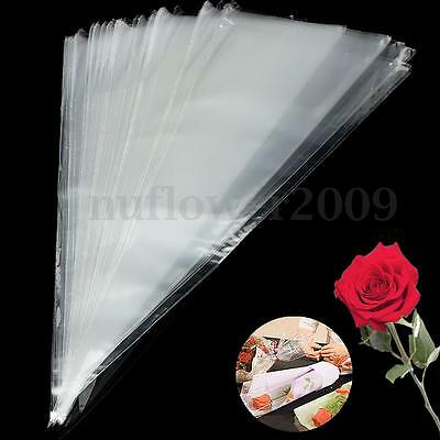 100Pcs Clear Cellophane Cone Cello Sweet Candy Flower Bags Birthday Wedding Gift