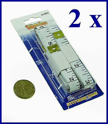 "2 x  MEASURING TAPES  TAILOR  1.5M  60""  Flat Rulers tape Cloth  Body"