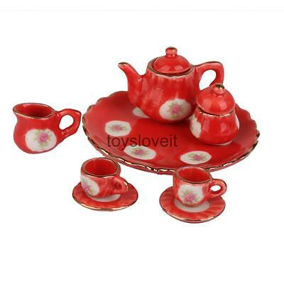 1/6 Floral Red Tea Cup Pot Dish Dolls house Miniature Table Dining Ware 8pcs