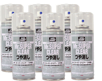 MR HOBBY ACRYLIC SPRAY 170ml SUPER CLEAR FLAT MATT B514 x6pcs