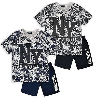 Boys Short Sleeved Printed T-Shirt & Shorts New Kids 2 Piece Set Ages 4-14 Years