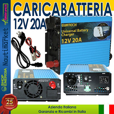 EurTeck Battery Charger Caricabatteria 12V 20A Auto moto nautica camper #2102096