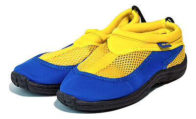 Trufit Kids Swimshoes Back String and Toggle Blue/Yellow Size 2