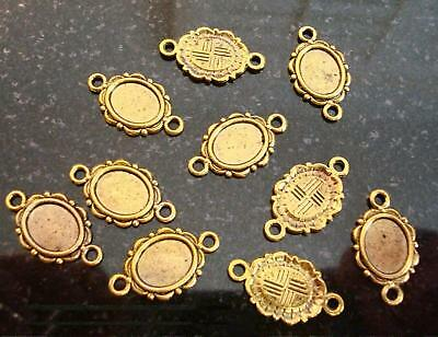 10 Cabochon bezel settings 10x8 oval ant gold double loops earrings charms bc032