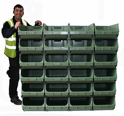 Large Container Pick Pigeon Hole Wall Parts Bins Stackable (24 x Union F)