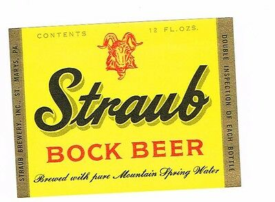 Clean Unused Straub Bock Beer 12oz Straub Brewery Inc St. Mary's PA Tavern TRove
