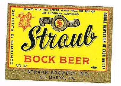 Unused Straub Bock Beer 12oz ©1951 Straub Brewery Inc St. Mary's PA Tavern TRove