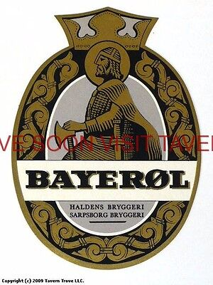 Scarce 1960s Norway Haldens Bayerol Beer V4 label Tavern Trove
